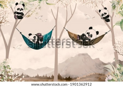 Fototapete cute pandas lying in hammock for child room wallpaper design