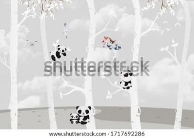 Fototapete Cute pandas playing in the jungle