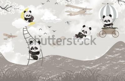 Fototapete cute pandas playing in the sky kids room wallpaper design