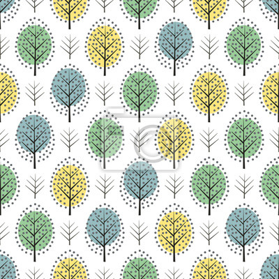 Fototapete Cute scandinavian style decorative trees seamless pattern. Nature background with colorful leaves. Autumn forest vector illustration. Design for textile, wallpaper, fabric.