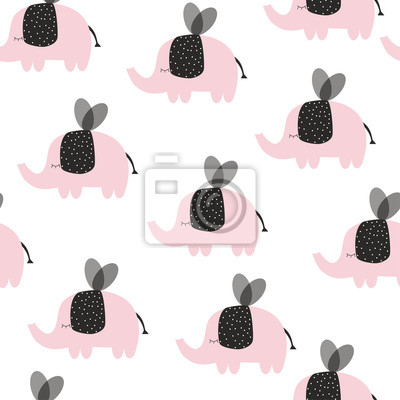 Fototapete Cute seamless pattern with flying elephants. Vector hand drawn illustration.