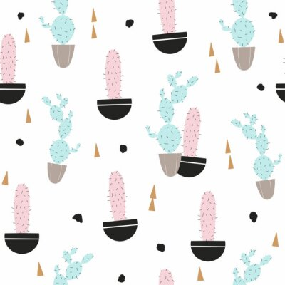 Fototapete Cute seamless pattern with pastel cactus. Vector hand drawn illustration.