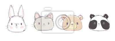Fototapete Cute Set Animals, Hand Drawn Cute Rabbit, Bear, Panda and Cat, Vector Illustration. Print Design. Cute Set Animals, Hand Drawn Cute Rabbit, Bear, Panda and Cat, Vector Illustration. Print Design.