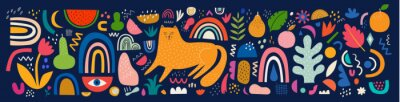 Fototapete Cute spring pattern collection with cat. Decorative abstract horizontal banner with colorful doodles. Hand-drawn modern illustrations with cats, flowers, abstract elements. Abstract series