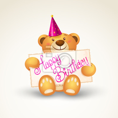 Cute Teddy Bear With A Banner Template Greeting Card Fototapete