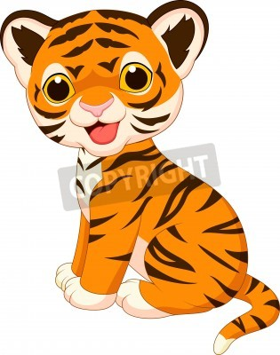 Fototapete Cute tiger cartoon