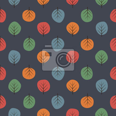 Fototapete Cute trees seamless pattern. Dark nature background with bright leaves. Autumn forest vector illustration. Design for textile, wallpaper, fabric.