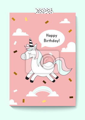 Fototapete Cute Unicorn Doodle Happy Birthday Card A4 Size Magic Vector