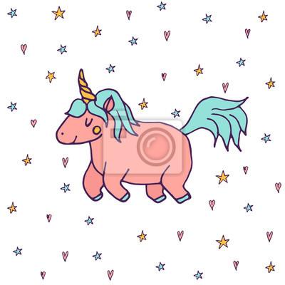 fototapete cute vektor einhorn hand gezeichnet kawaii stil illustration mit imaginaren pferd von kindern marchen