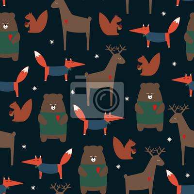 Fototapete Cute Waldtiere nahtlose Muster auf dunklem Hintergrund. Rotwild, Fuchs, Bär, Eichhörnchen und Schneeflocken Cartoon Baby Hintergrund. Design für Stoff, Textil, Dekor. Vektor-Illustration für den Winte