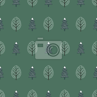 Fototapete Cute winter trees seamless pattern. Happy New Year background. Vector design for winter holidays on green background. Print for textile, wallpaper, wrapping paper, fabric.