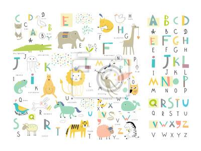 Cute Zoo-Alphabet mit lustigen Tiere im Vektor. Briefe.