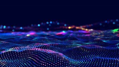 Fototapete Cyber big data flow. Blockchain data fields. Network line connect stream. Concept of AI technology, digital communication, science research, 3D illustration music waves