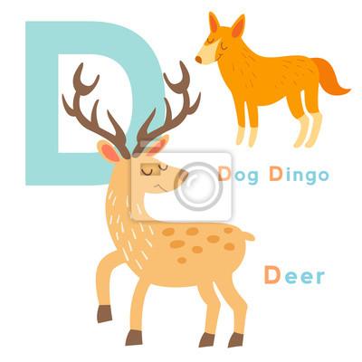 D Buchstabe Tiere gesetzt. Englisches Alphabet. Vektor-Illustration, isoliert auf weißem Hintergrund