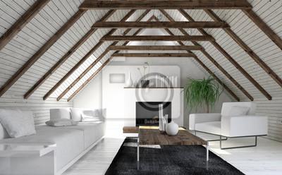 Fototapete Dachboden Wohnzimmer In Minimalistischem Design