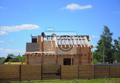 Dachdecker Bau Und Neubau Haus Aus Holz Fototapete Fototapeten