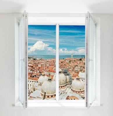 Fototapete Dächer von Florenz durch das Fenster gesehen
