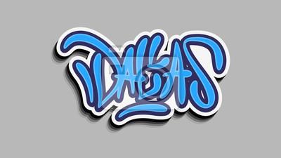 Dallas Texas Usa Hand Lettering Sticker Design.