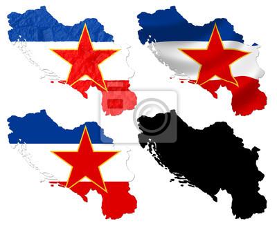 Jugoslawien Karte.Fototapete Damaligen Bundesrepublik Jugoslawien Flagge über Karte Collage