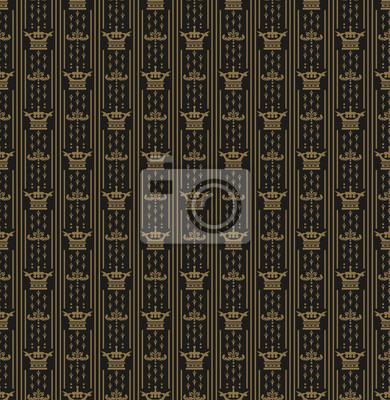 Damast Nahtlose Jahrgang Muster Dunkle Tapete Fototapete