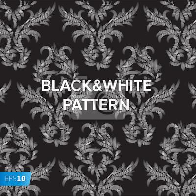 Damast-Schwarz-Weiß-Blumenmuster, Vektor-Illustration eps10
