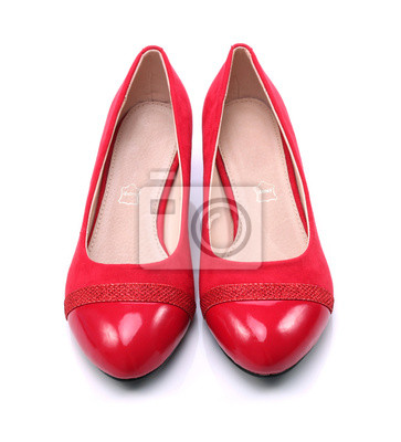 00585b0f44060a Damen rote schuhe auf einem weißen hintergrund fototapete ...