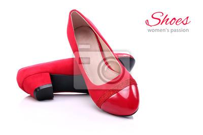 e94783dec7d502 Damen rote schuhe auf einem weißen hintergrund fototapete ...