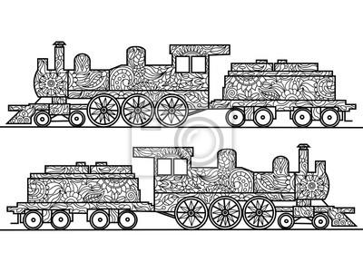Dampflokomotive Malbuch für Erwachsene Vektor