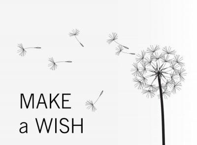 Fototapete Dandelion vector. Wish. Simple minimalist style.