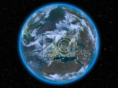 Dänemark In Der Nacht Auf Der Erde Fototapete Fototapeten Welt