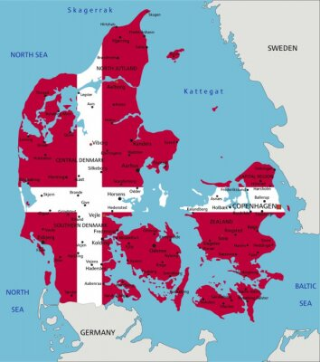 dänemark karte Dänemark sehr detaillierte politische karte mit nationalflagge
