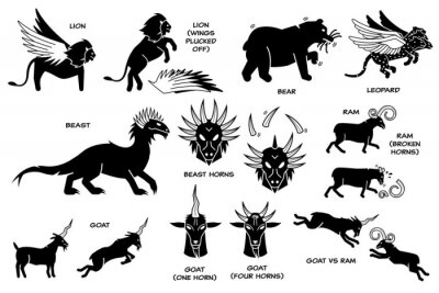 Fototapete Daniel dream vision on The Four Beasts, The Ram, He-Goat, and Horn. Vector illustration depicts Daniel dream vision of lion with eagle wings, bear, winged leopard, ten horns beast, ram and goat.