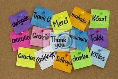 Danke in verschiedenen Sprachen