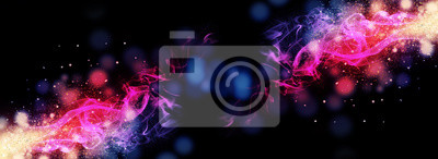 Fototapete Dark abstract bokeh background, magic smoke and sparks, neon