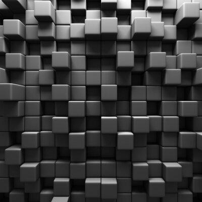 Fototapete Dark Grey Cube Blöcke Wand-Hintergrund
