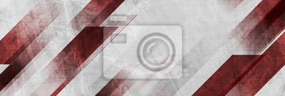 Fototapete Dark red and grey grunge stripes abstract banner design. Geometric tech vector background