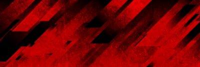 Fototapete Dark red grunge stripes abstract banner design. Geometric tech vector background