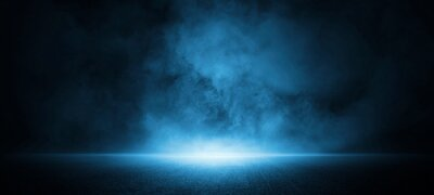 Fototapete Dark street, asphalt abstract dark blue background, empty dark scene, neon light, spotlights The concrete floor and studio room with smoke float up the interior texture for display products