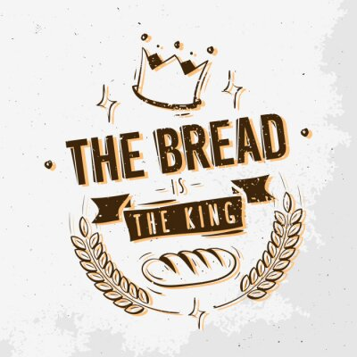 Das Brot Ist Der König. Hand gezeichnetes T-Stück-Druck-Entwurf.