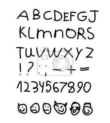Das Englische Alphabet Der Kinder Figuren Smilies Emoji Hand