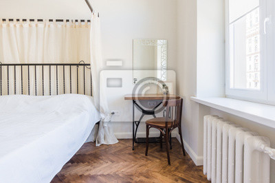 Das himmelbett im weißen schlafzimmer fototapete • fototapeten ...