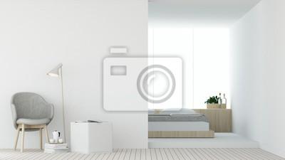 Das Innenhotelschlafzimmer Und Entspannen Sich Raum 3d Die Weißen
