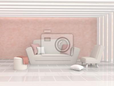 Das Wohnzimmer Ist Ausgestattet Kissen Sofa Stuhl Zement