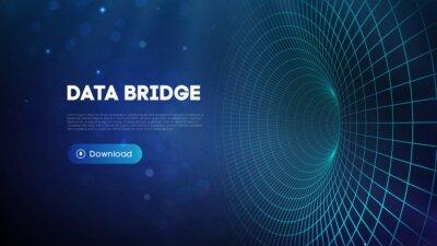 Fototapete Data bridge vector illustration. Traffic big data and data visualization. Communication network digital technology background.