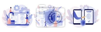 Fototapete Data protection concept. Scan Fingerprint, Identification system. Modern flat cartoon style. Vector illustration