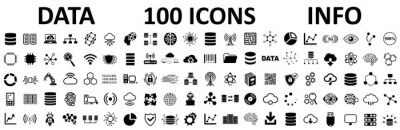 Fototapete Database icons set, 100 big data universal icons set, data analysis, statistics, analytics web signs - stock vector