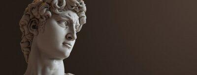 Fototapete David sculpture by Michelangelo. Close up with dark background. (left version)