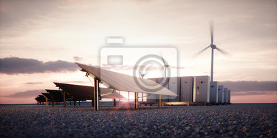 Fototapete Dawn of new renewable energy technologies. Modern, aesthetic and efficient dark solar panel panels, a modular battery energy storage system and a wind turbine system in warm light. 3D rendering.