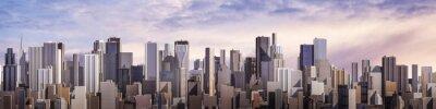 Fototapete Day city panorama / 3D render of daytime modern city under bright sky