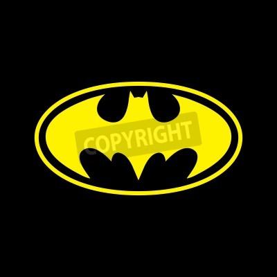 Fototapete DC comics superhero Batman logo yellow on black background
